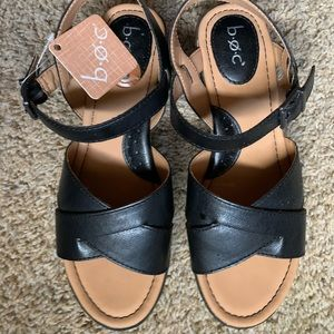 BOC black wedge comfy sandals